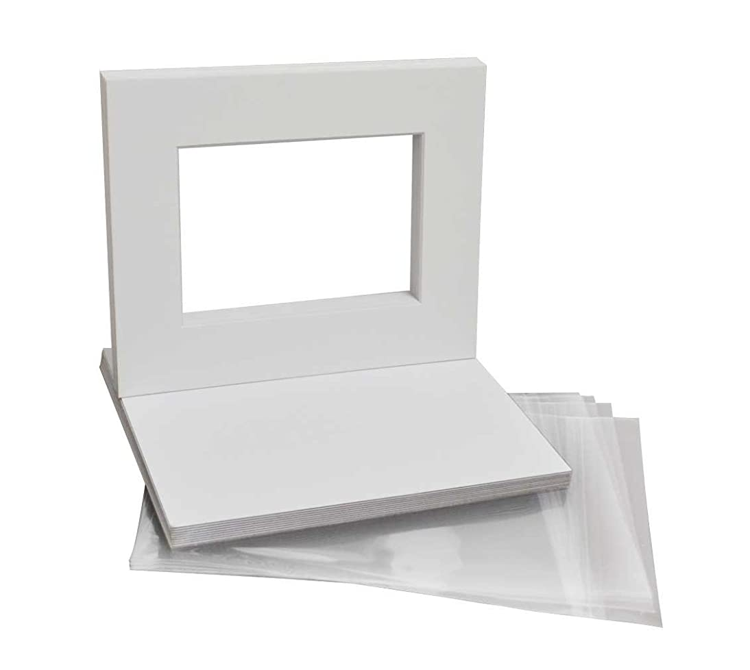 Golden State Art, Pack of 10 White Pre-Cut 8x10 Picture Mat for 5x7 Photo with White Core Bevel Cut Mattes Sets. Includes 10 High Premier Acid Free Mats & 10 Backing Board & 10 Clear Bags