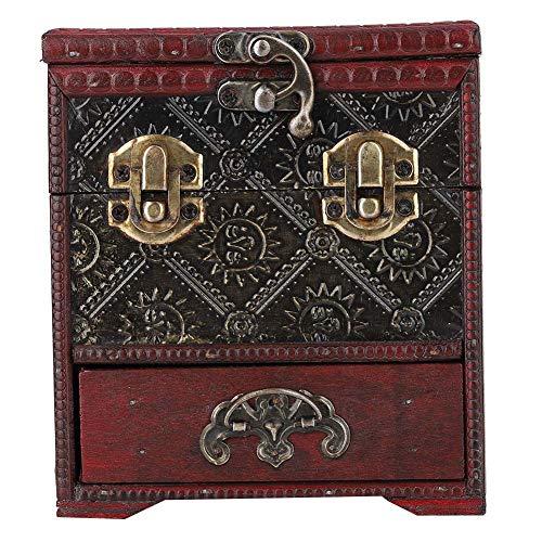 Cerradura vintage con patrón grabado Joyero de madera Joyero Caja artesanal exquisita Almacenamiento