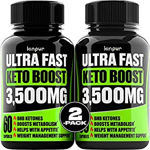 (2 Pack) Complete Keto Pills - Advanced Weight Management, Energy, and Appetite Support - Keto Fast BHB Exogenous Ketones Supplement for Improved Focus and Stamina - 120 Keto Diet Pills Total by Manufactured for Kinpur