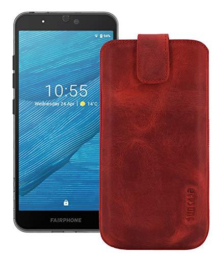 Suncase ECHT Ledertasche Leder Etui kompatibel mit Fairphone 3+   Fairphone 3 Plus Hülle (passend nur mit der MITGELIEFERTE Bumper) antik-rot