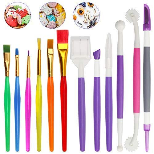 Kit de herramientas de decoración de galletas, 12 unidades, cepillo para decoración de pasteles, chocolate, agujas para galletas, azúcar y agitar
