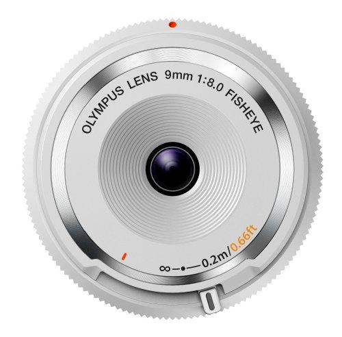 Olympus Body Cap Objektiv 9mm 1:8.0 fisheye weiß