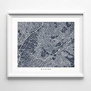 Athens Greece Street Road Map Home Decor Poster Urban City Hometown Wall Art Print - 70 Color Options - Unframed