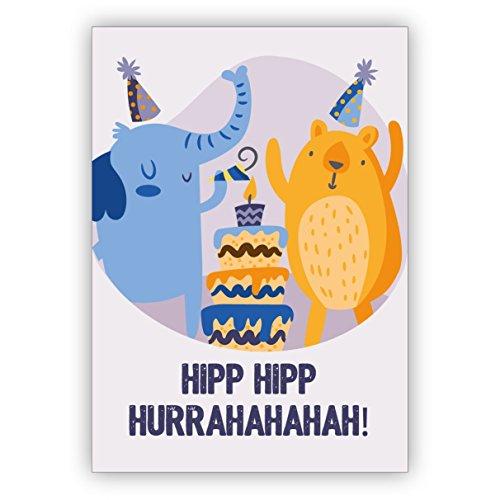 Schattige verjaardagskaart met party olifant en jubel beer met taart: hipp hipp Hurrahahaha! • direct verzenden met uw tekst als inlegger • mooie wenskaarten met enveloppen zakelijk en privé 10 Grußkarten blauw
