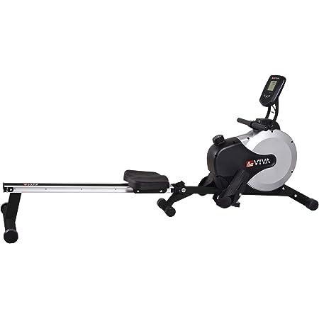 AsVIVA RA11 rameur ergomètre Rower Cardio avec 8 niveaux de résistance manuelle et console multifonctions avec mesure du pouls pour l'entraînement d'endurance à la maison, pliable (gris/noir)