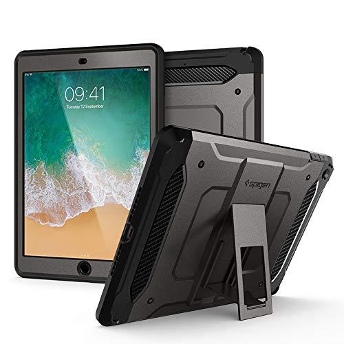 Spigen Tough Armor TECH mit passgenauem Hartglas, Kompatibel mit iPad 9.7 Hülle (2018/2017) - Gunmetal
