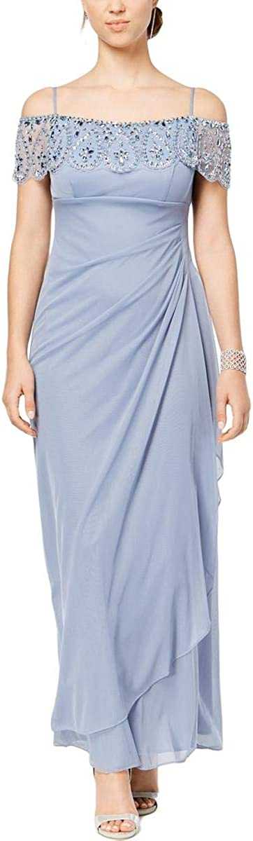 Xscape Women's Petite Embellished Off-The-Shoulder Gown