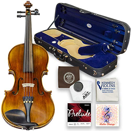 Louis Carpini G2 Violin Outfit 4/4 Full Size - Carrying Case and Accessories Included - Highest Quality Solid Maple Wood and Ebony Fittings By Kennedy Violins