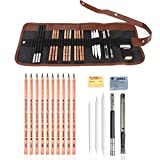 Electomania Sketching Pencil Set,Drawing Art Tool Kit with Graphite Pencils, Charcoal Pencils, Paper Erasable Pen, Craft Knife(21 Pieces with Canvas Rolling Pouch)