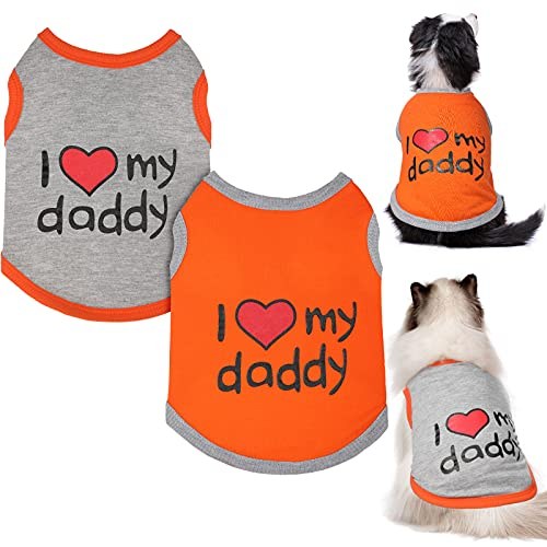 2 Pieces Dog Shirt Pet T-Shirt, Breathable Outfits Vest Apparel for Puppy and Cat, Soft Stretchable Doggy Shirt Tee Tank Top Sleeveless Slogan Pet Clothes Printing Clothing for Boys and Girls (Medium)