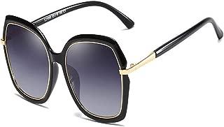 SGJFZD Women's New Fashion TAC Polarized Metal Sunglasses Retro Large Frame Fashion Street Snap Sunglasses Outdoor Seaside Sunscreen UV400 (Color : Light Black Frame Double Gray)
