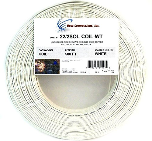 22 Gauge 500 Feet Solid Copper Security Cable White Security Alarm Wire UL Rated
