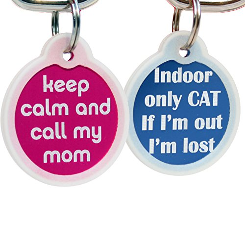 GoTags Funny Dog and Cat Tags Personalized with 4 Lines of Custom Engraved Text, Dog and Cat Collar ID Tags Come with Glow in The Dark Silencer to Protect Tag and Engraving, (Keep Calm Call My Mom)
