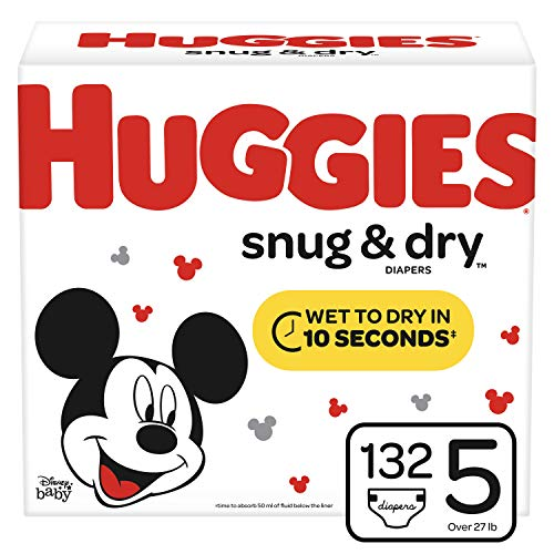 Huggies Snug & Dry Baby Diapers, Size 5, 132 Ct