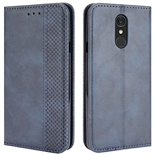 HualuBro Handyhülle für LG Q7 Hülle, LG Q7 Plus Hülle Leder, Magnetisch Stoßfest Schutzhülle Klapphülle Handytasche Flip Hülle Cover für LG Q7 / LG Q7+ Plus Tasche, Blau