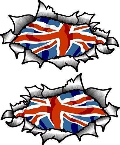 Pequeño Pareja de Oval Efecto Rasgado Abierta Desgarrado Efecto Metal Diseño con Bandera Británica Union Jack Vinilo Casco de Moto Pegatinas 85x50mm Each