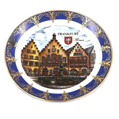 Müller Porzellan Wand-Teller Frankfurt Römer, blau Gold, 13cm, Sammelteller Deko-Teller Wand-Bild Wanddeko Wand-Kunst