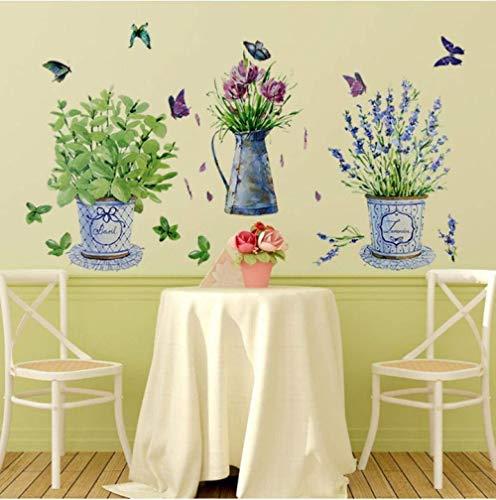 Zelfklevende stickers van papier, wandstickers, bloempot in pot, vlinder, decoratie voor thuis, badkamer, waterdicht, decoratie voor huis, kunst