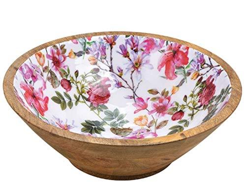 meindekoartikel Schale im Blumen Dekor aus Mangoholz (Natur bunt) Ø 25cm x Höhe 8cm – Obstschale Schüssel