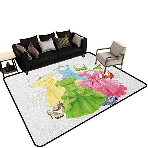 MsShe Square tapijt Hakken en jurken, Meisje Silhouettes Glamour kleding portemonnees ondergoed patroon in roze tinten, Multi kleuren