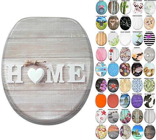 Asiento para inodoro de cierre suave, gran selección de atractivos asientos de inodoro con calidad superior y duradera de madera (Home)