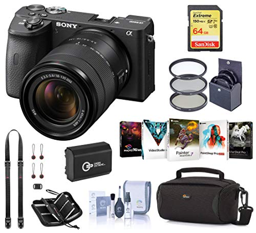 Sony Alpha a6600 Mirrorless Digital Camera with 18-135mm Lens Starter Bundle with Bag, Battery, 64GB SD Card, Neck Strap and...