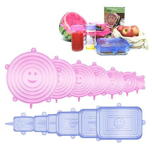 JRing Silikondeckel Dehnbare 13 Teiliges Silikon Stretch Deckel (Rechteckig und Rund) BPA Frei Wiederverwendbar Silikon Abdeckung, Universal Silikon-Frischhalte-Deckel für SchüSseln, TöPfe, GläSer
