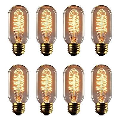 Vintage Edison Bulb - 25 Watt - T45 - Spiral Cage Filament - Dimmable - 8 Pack - 65 Lumen