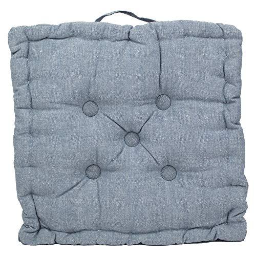 Tata Home Cuscino Materasso per Sedia da Interno ed Esterno Cuscino Pavimento Trapuntato Imbottito Misura 40x40x7 cm MOD. Ajour Blu Jeans