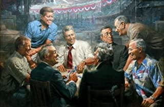 Andy Thomas - True Blues - Democratic Presidents Playing Poker (Overall Size: 18x11.75) (Image Size: 16x9.75)