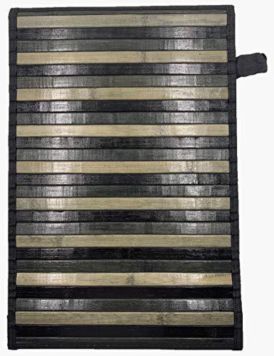 Eurostyle - Alfombra de bambú con base antideslizante Degrade (50 x 370 cm), color negro