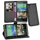Cadorabo Hülle für HTC Desire 820 in Phantom SCHWARZ - Handyhülle mit Magnetverschluss, Standfunktion & Kartenfach - Hülle Cover Schutzhülle Etui Tasche Book Klapp Style
