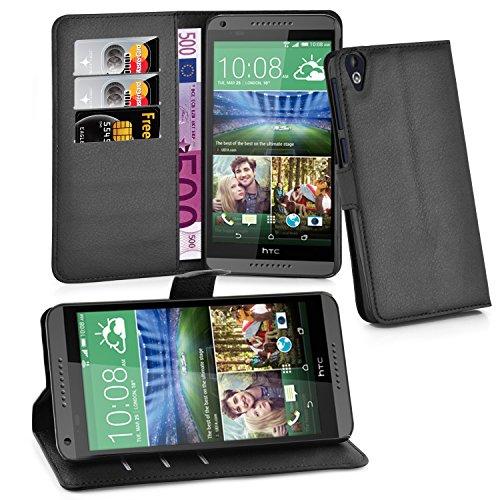 Cadorabo Hülle für HTC Desire 820 - Hülle in Phantom SCHWARZ – Handyhülle mit Kartenfach und Standfunktion - Case Cover Schutzhülle Etui Tasche Book Klapp Style