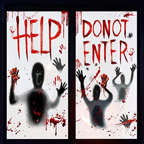 Halloween Decoraciones de zombis, 2 PCS Decoraciones Sangrientas de Miedo en Interiores, Decoración de Halloween de Miedo en Interiores, para Decoración de Fiestas en Casa de Halloween, 155 cm*77 cm