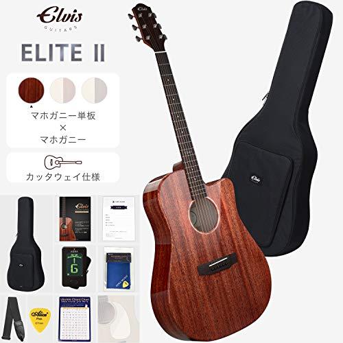 ELVISエルビス Elite-2(エリート2)アコースティック ギター【マホガニー材トップ単板】【カッタウェイ仕様】【付属品8点セット:国内保証書・チューナー・ピックガード・コードチャート・ピック・ストラップ・ポリシングクロース・純正ギグバッグ】MAC