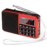 PRUNUS L-238 Radio Portable FM/AM(MW)/SW/USB/Micro-SD/MP3, Poste Radio avec Grands Boutons et Grand Écran,Radio Portable Rechargeable Batterie 1200 mAh (Rouge)