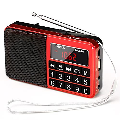 PRUNUS J-429SW Radio Portable FM/AM(MW)/SW/USB/Micro-SD/MP3, Poste Radio avec Grands Boutons et Grand Écran,Radio Portable Rechargeable Batterie 1200 mAh (Rouge)