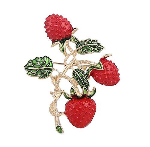 Da.Wa Neue Art Erdbeere Form Broschen für Frauen Gold überzogene Blattstifte und Broschen