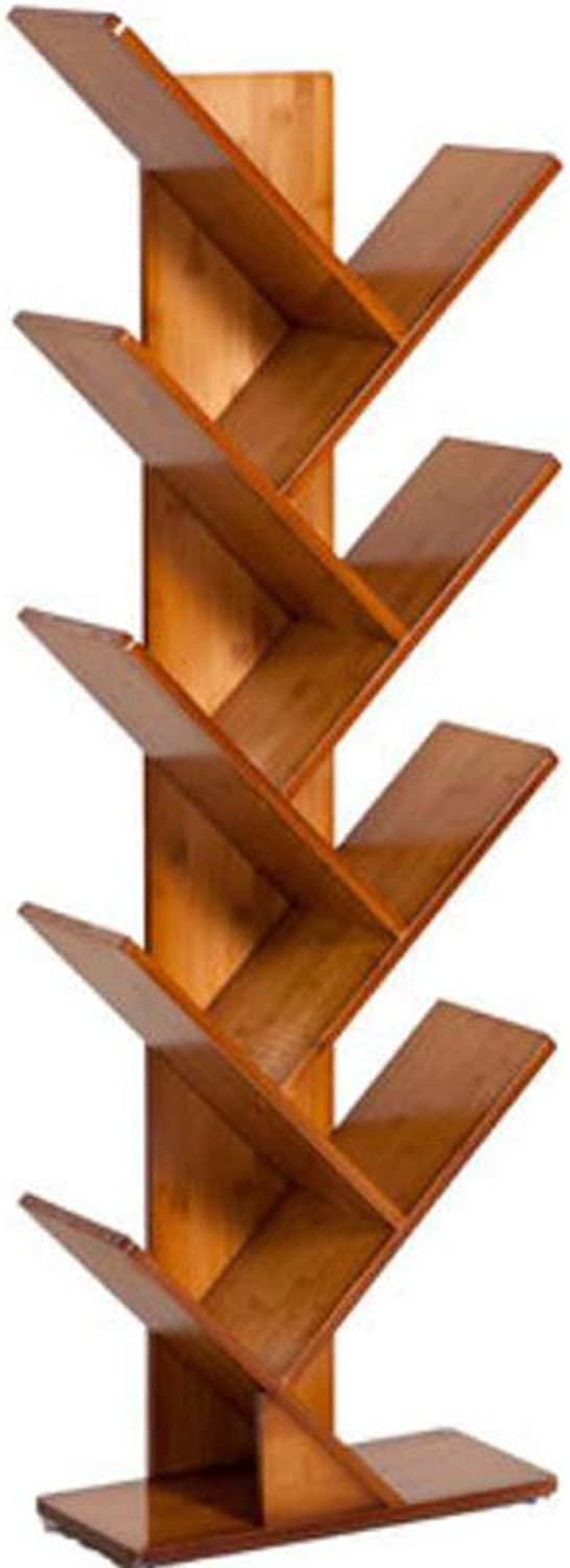ZHPRZD Bamboo 2-6 Shelf Tree Bookcases, Bookshelves, Special Design Bookshelves, CDs, Movies and Books Display Stands. (Red Oak 2-6TB) (Size   44  20  56)