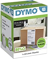Dymo S0904980 LW Extra Large Shipping Labels for LabelWriter 4XL Label Maker, 104mm x 159mm, Roll of 220, Black Print on...