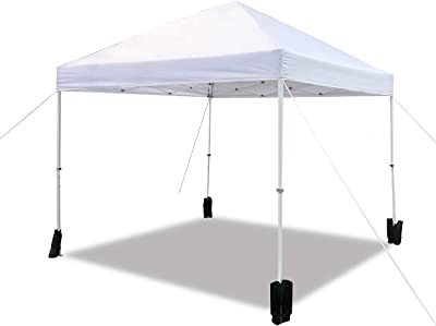 Amazon Basics Outdoor Pop Up Canopy, 10ft x 10ft with Wheeled Carry, 4-pk weight bag, White