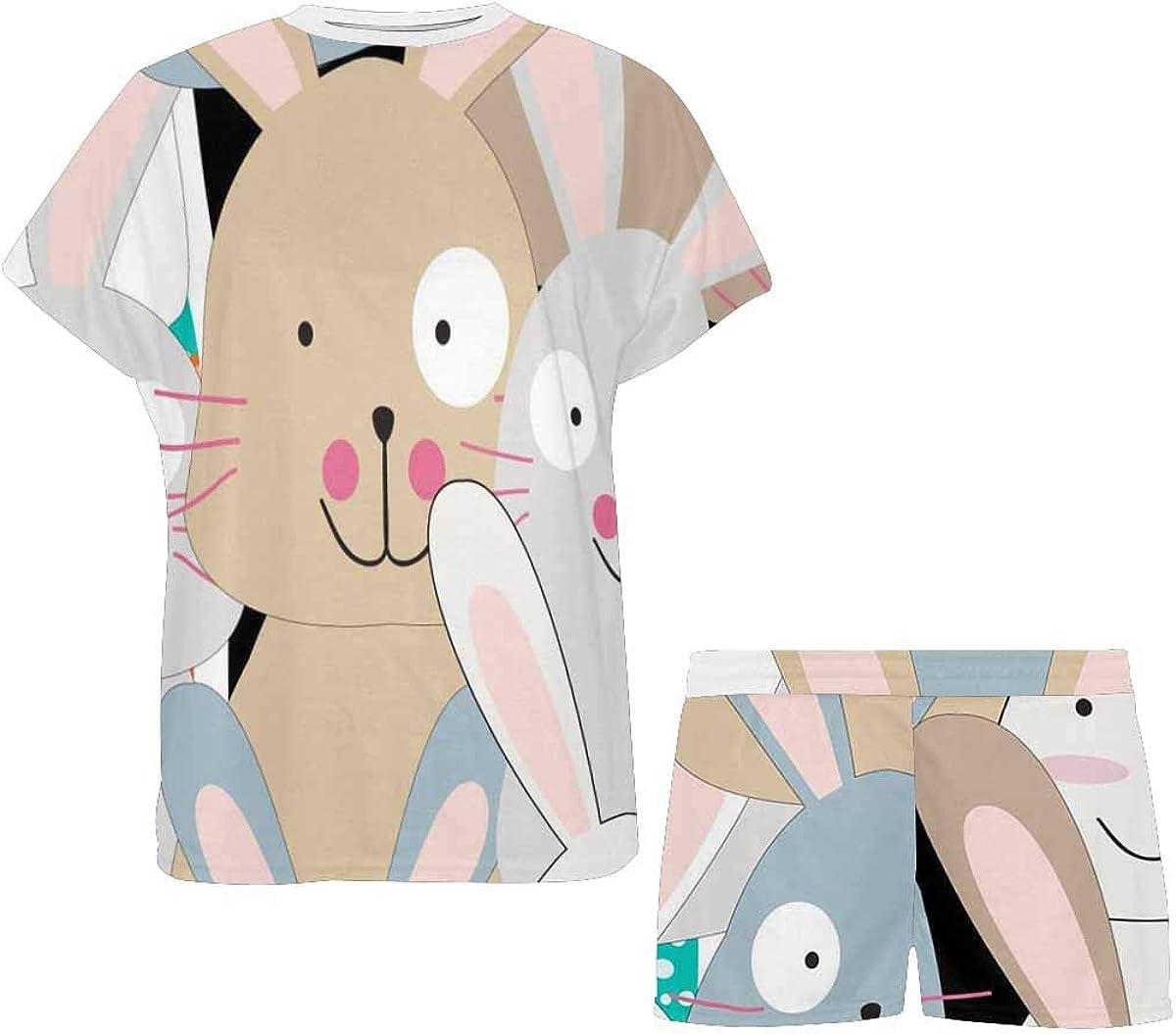 InterestPrint Funny Cute Baby Rabbit Bunny Women's Lightweight Pajama Set, Short Summer Pjs