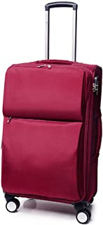 FDSjd Trolley Box Men and Women Suitcase Soft Box Nylon Oxford Cloth Box College Student Universal Wheel Travel Suitcase (Color : Wine red, Size : 28 inches)