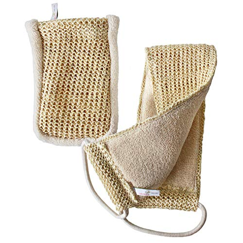 Sisal Set in Bio-Qualität. Massagegurt & Peelinghandschuh. Für Nassmassagen & Trockenmassagen geeignet. Peeling mit Rückenschrubber & Massagehandschuh. Bio-Sisal & Bio-Baumwolle für Wellness & Pflege