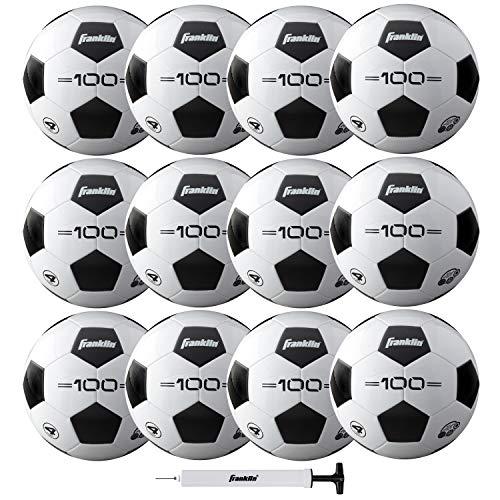 Franklin Sports Soccer Balls - Size 4 F-100 Soccer Balls - Youth Soccer Balls - 12 Pack Bulk Soccer Balls with Pump