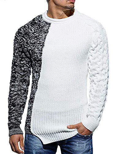 Taoliyuan Mens Ribbed Knitted Pullover Sweater Color Block Comfort Twisted Long Sleeves Sweaters, Black, X-Large