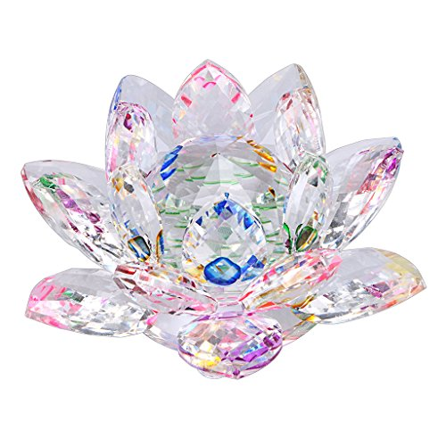 OwnMy Sparkle Crystal Lotus Flower Hue Reflection Feng Shui Home Decor with Gift Box (4 Inch/ 100MM Rainbow)