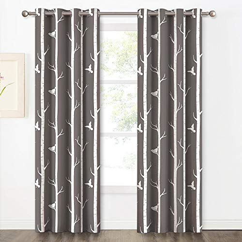 KGORGE Blackout Curtains 84 inches Long - Energy Efficiency Noise Reducing Country Birds Botanical Themed Window Curtains for Living Room Bedroom Dining Parlor, 2 Panels, 52 x 84, Toffee-Grey