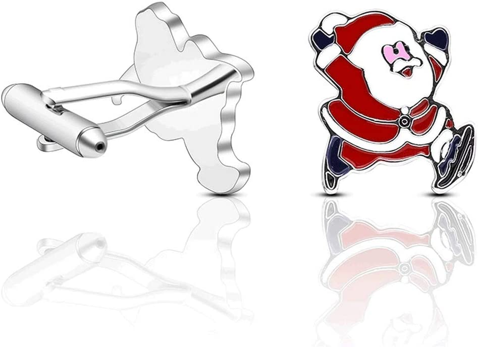 ZZABC Santa Cufflink 1 Pair Men's and Women's Shirts Party Practical Fashion Jewelry Creative Cufflinks