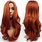 Peluca de cabello sintético para mujer, color caoba y jengibre, peluca de cabello largo y ondulado, de Tongxu.